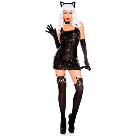 Music Legs Women's 5 Pc Sexy Cat Halloween Costume W/ Ears, Sequined, Black