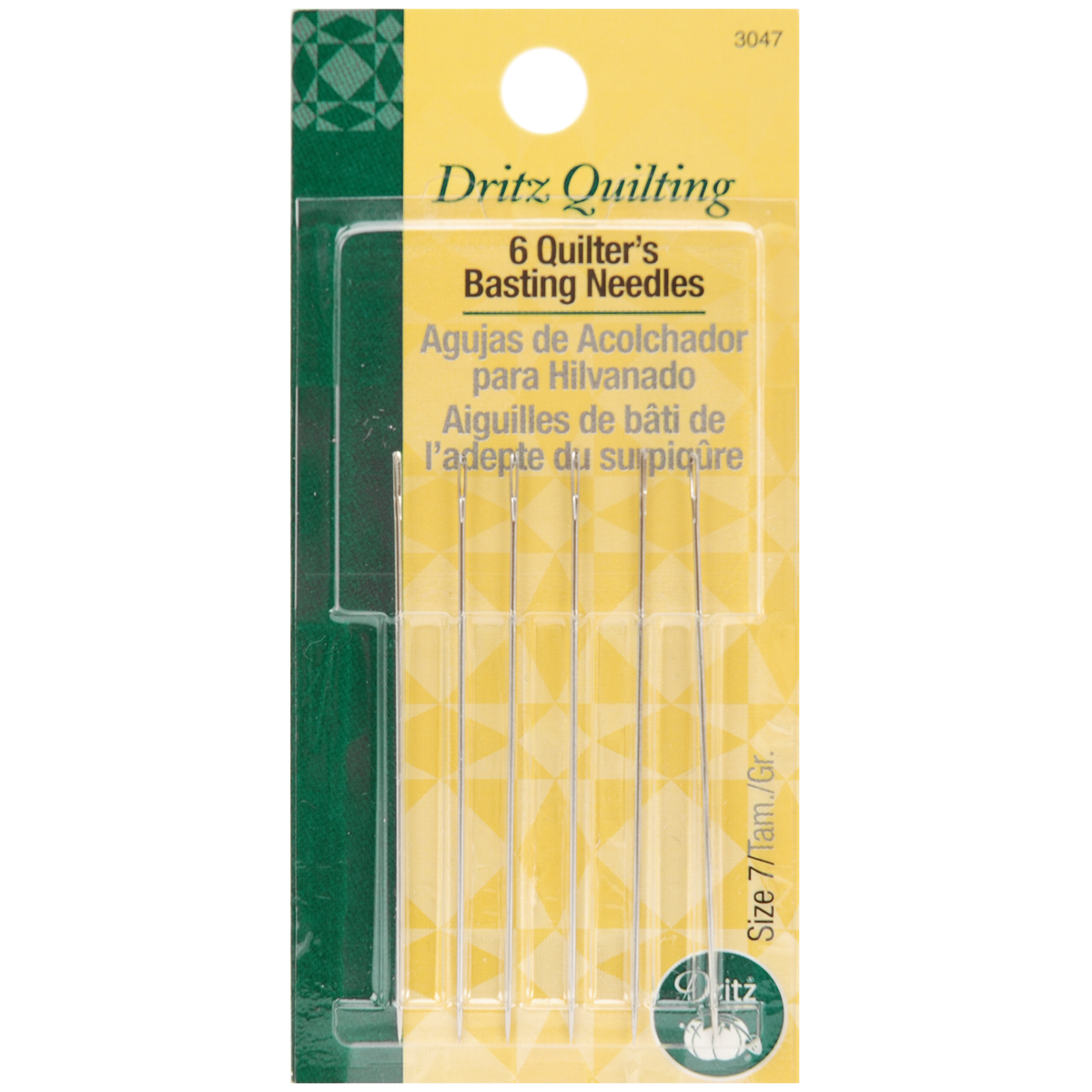 Dritz Quilters Basting Hand Needles Size 7, 6 Count Multi-Colored