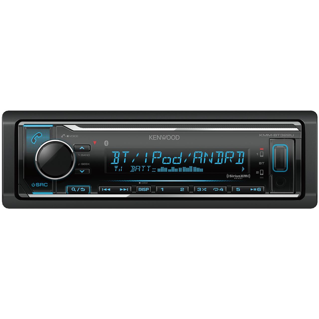 Kenwood KMM-BT322U Single-Din In-Dash Digital Media Receiver With Bluetooth & SiriusXM Ready