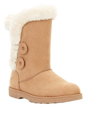 Calistoga Women's Vegan Suede Faux Fur Mid Calf Boot