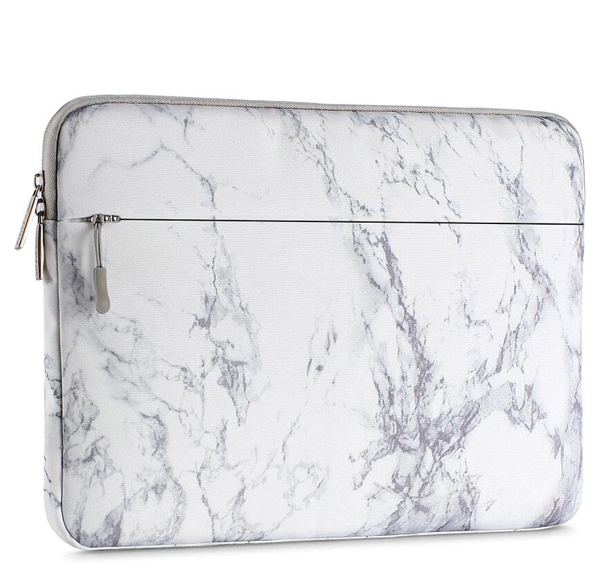 Mosiso Laptop Sleeve for 2018 MacBook Air 13 A1932 Retina Display/MacBook Pro 13 A1989 A1706 A1708 USB-C 2018 2017 2016/Surface Pro 6/5/4/3, Canvas Carrying Case Cover Bag, White Marble Pattern