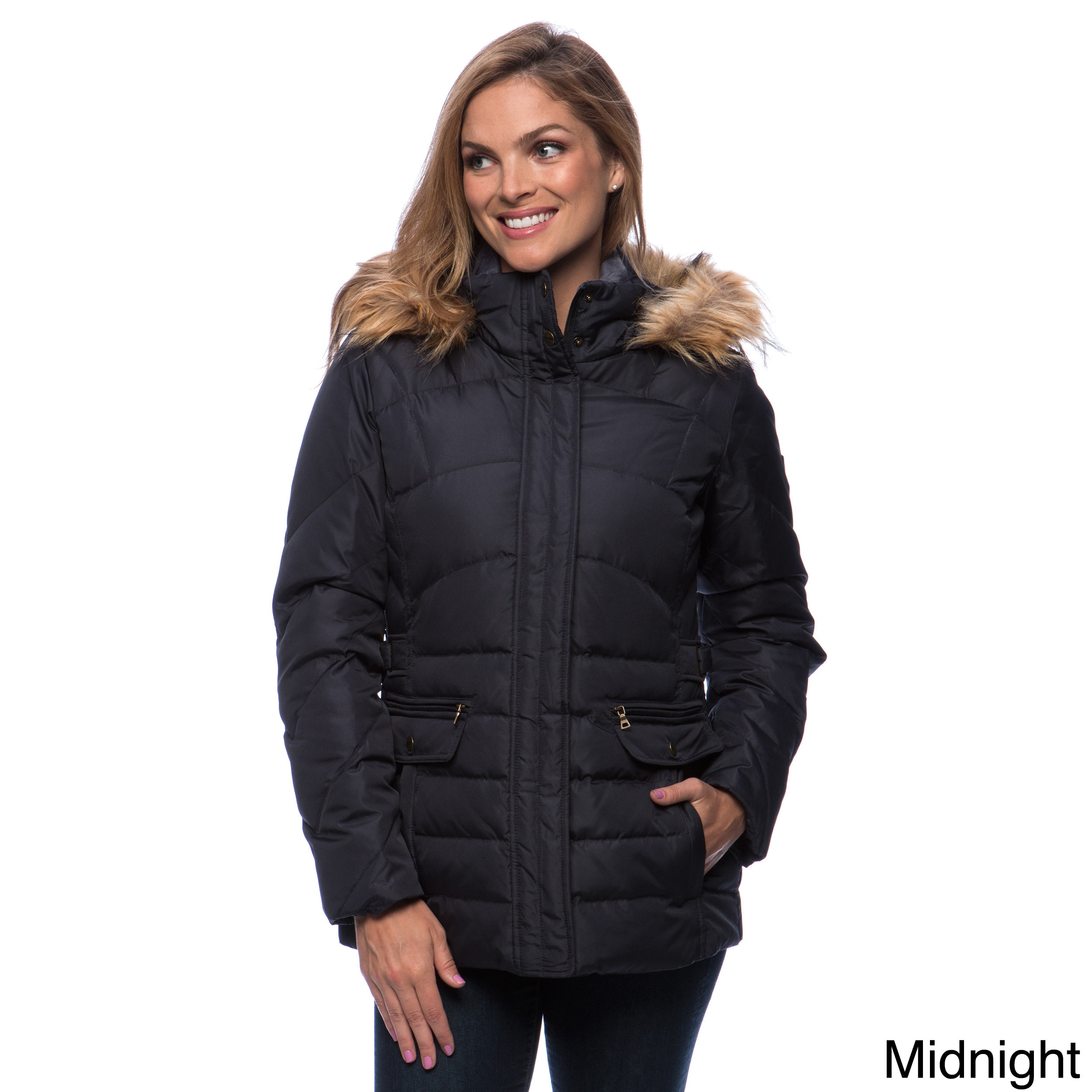 2cc6a08f786 larry levine down coat with removable faux-fur trim hood - Walmart.com