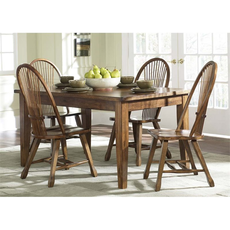Liberty Furniture Treasures 5 Piece Dining Set in Rustic Oak