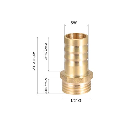 """Brass Barb Hose Fitting Connector Adapter 16mm Barbed x 1/2"""" G Male Pipe 2pcs - image 2 of 4"""