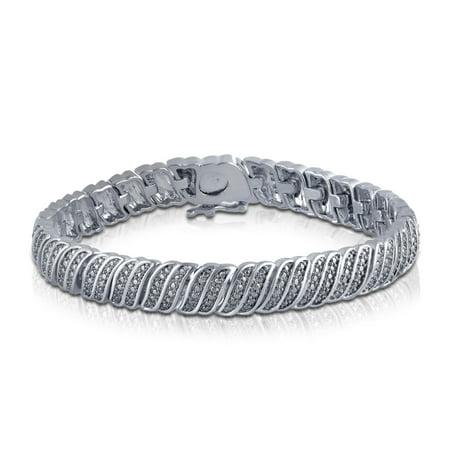 Genuine 1/4 Carat Natural Double Row Diamond Bracelet In 14K Gold Plated Double Row Oval Bracelet