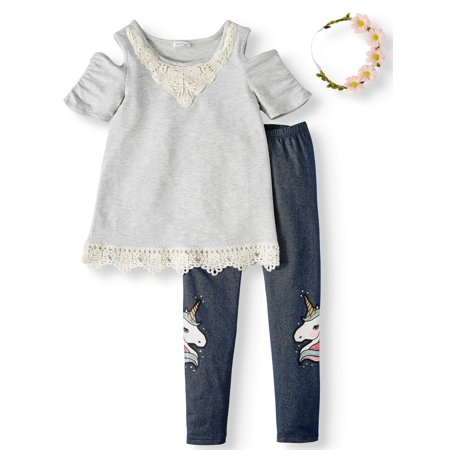 Girls' Cold Shoulder French Terry Tunic and Denim Unicorn Legging, 2-Piece Outfit Set With Headband ()