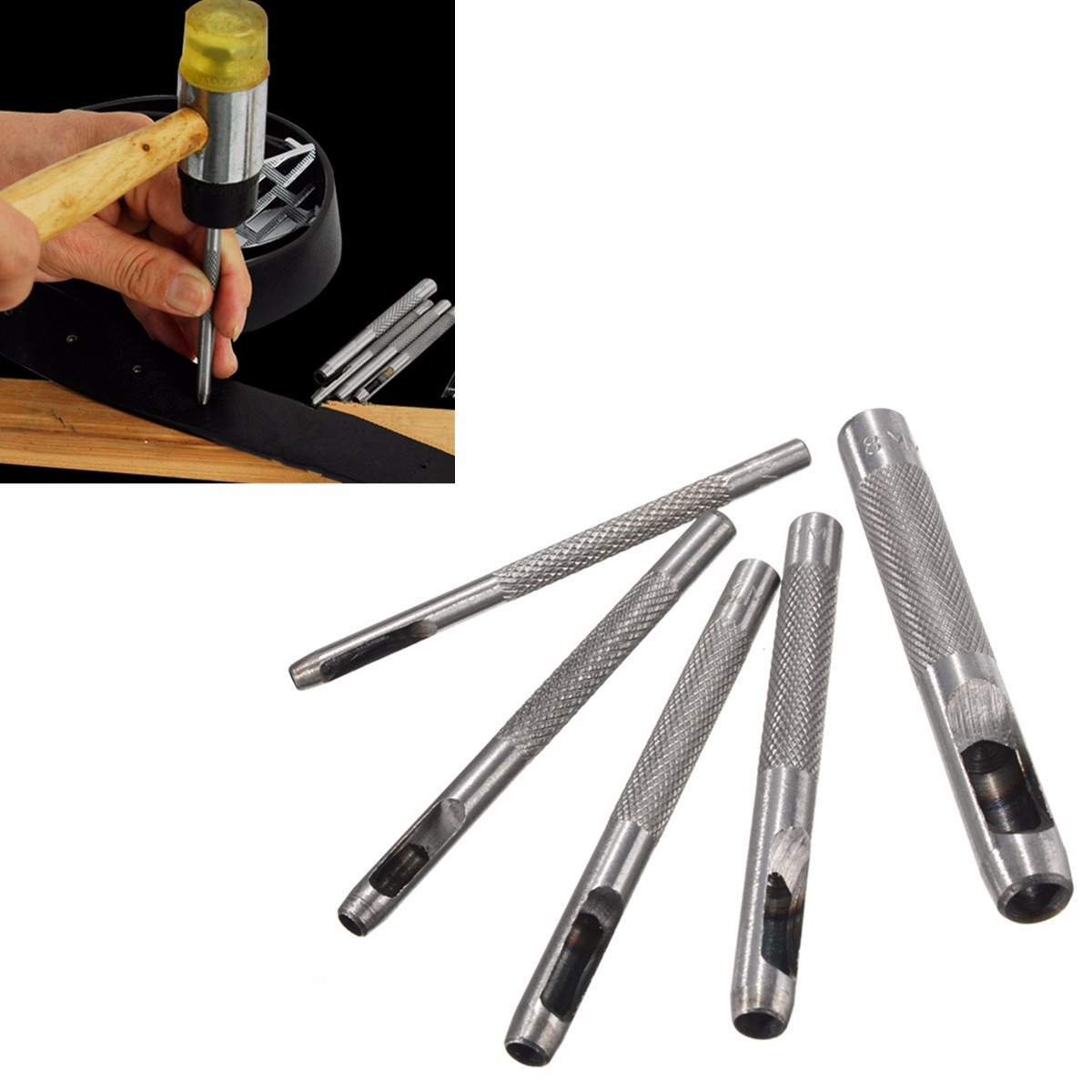 5Pcs Hollow Puncher Set Belt/Leather/Hole Maker/Gasket/Card/Paper/Plastic/Canvas Cut