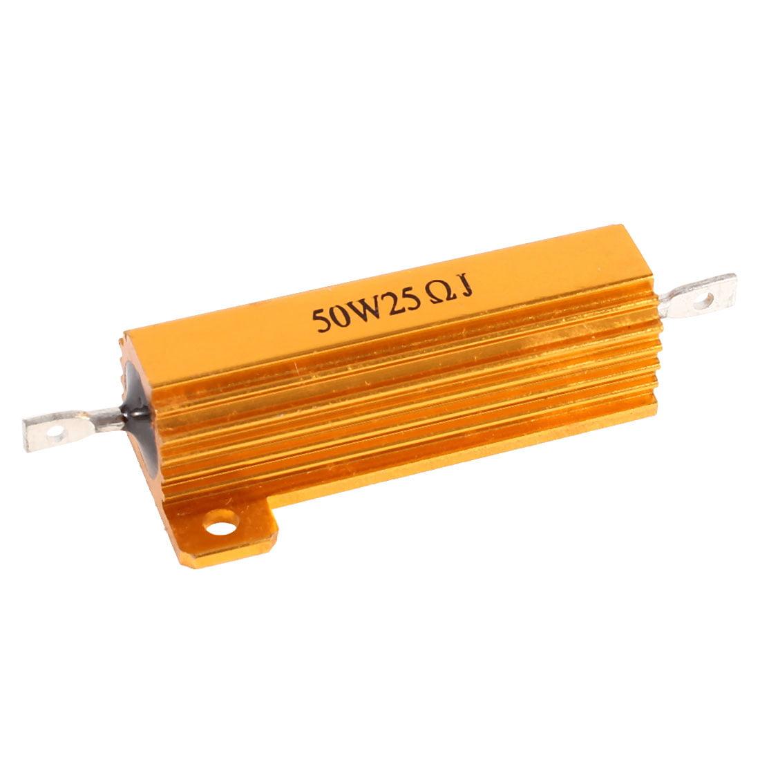 Unique Bargains 25 Ohm Screw Tap Mounted Audio Aluminum Wirewound Resistors 50W Gold Tone