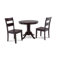 M&D Furniture BRSU3- CAP-W Brookline 3 piece small kitchen table and chairs set in Cappuccino finish