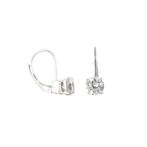 Square CZ Sterling Silver Drop Earrings
