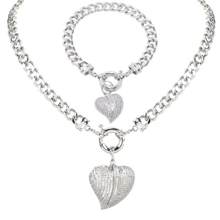 "EZI Rhodium-Plated Heart Shape CZ Cubic Zirconia Women's Costume Jewelry Chain-Link 17"" Choker Necklace and Charm Bracelet Set - Costume Jewelry"