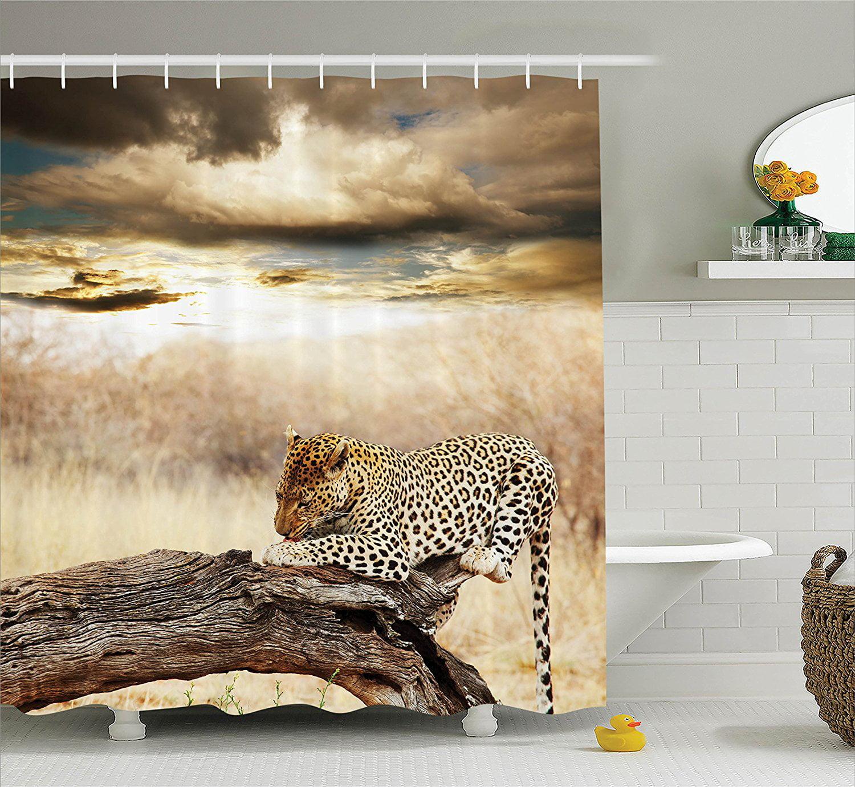 Safari Decor Shower Curtain Set By, African Safari Bathroom Decor