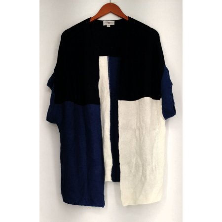 OSO Casuals Sweater L Color Block Short Sleeve Oversized Cardigan Blue (Casual Blocks)