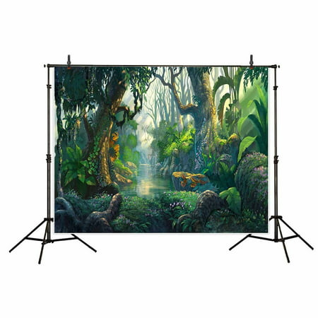 HelloDecor Polyster 7x5ft Scenic Natural Photography Backdrops Morning tropical jungle adventure Forest Life wall decoration Backdrop Photo Studio Prop Background Photobooth](Jungle Safari Backdrop)