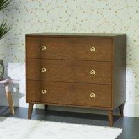 Novogratz Harper 3-Drawer Storage Dresser Organizer, Walnut