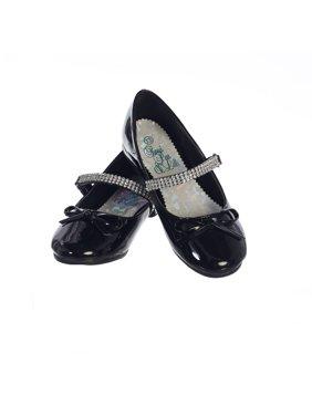 e27eec365 Product Image Girls Black Patent Rhinestone Strap Summer Dress Shoes