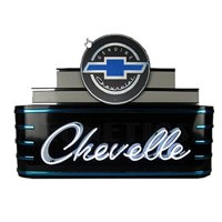"""CHEVELLE CHEVROLET MARQUEE ART DECO NEON SIGN 39"""" Wall Window Steel Can Back New"""