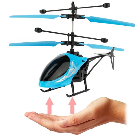 Remote Control Helicopter, 2-Channel Infrared Sensor Rechargeable Mini Helicopter with LED Light - Blue
