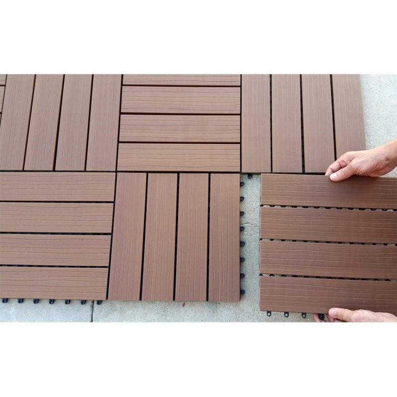 12 x 12 Eco-Friendly Wood-Plastic Composite Interlocking Decking Tile - Cedar WPC3 (11 tiles/box)