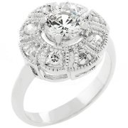 Sunrise Wholesale J2228 08 White Gold Rhodium Antique Milligrain Style Queen Mary Ring