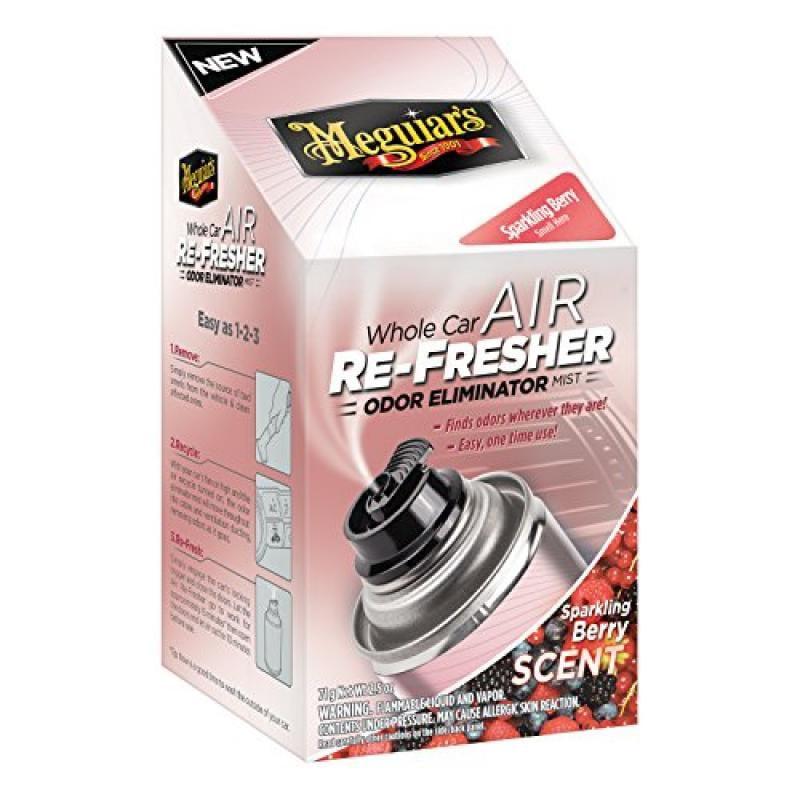 Meguiar's G16302 Whole Car Air Refresher Odor Eliminator (Sparkling Berry Scent), 2.5 oz.