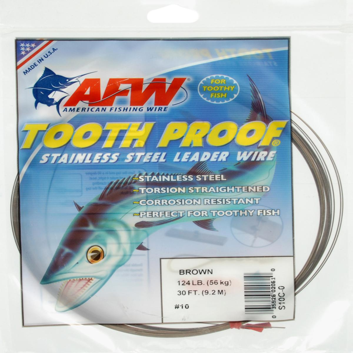 American Fishing Wire Tooth Proof Stainless Steel Single Strand Leader Wire Multi-Colored