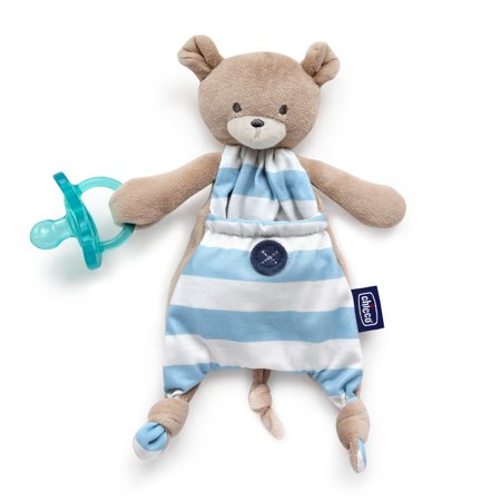 Chicco Pocket Buddies Soft Pacifier Holder-Lovey, Soothing Plush Toy Animal 0m+, Blue Bear Baby Buddy Pacifier Holder