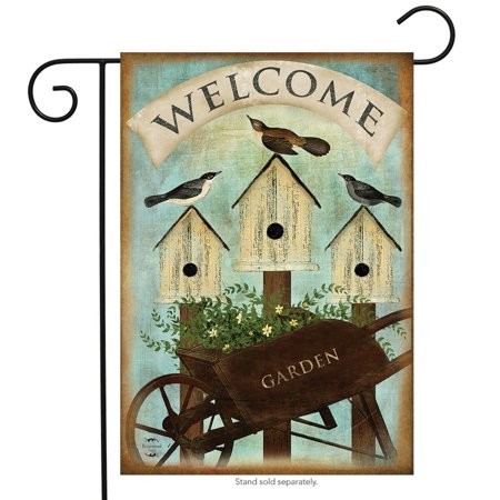Birdhouse Flag (wheelbarrow welcome spring garden flag birdhouses 12.5