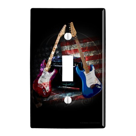 Electric Guitars American USA Flag Rock and Roll Red White Blue Plastic Wall Decor Toggle Light Switch Plate Cover