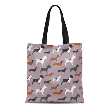 KDAGR Canvas Bag Resuable Tote Grocery Shopping Bags Dogs Pattern Bulldog Dachshund French Pet English Puppy Boxer Tote Bag
