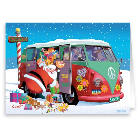 - Santa and His Hippie Sleigh Peace & Love - Funny Holiday Christmas Cards - 18 Cards and  Envelopes