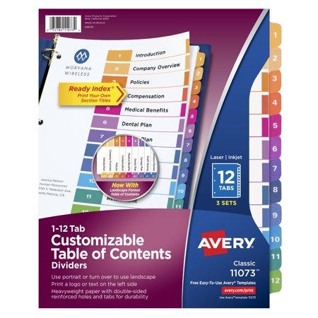 Avery Ready Index TOC Dividers, Preprinted 1-12 Multicolor Tabs (11073)