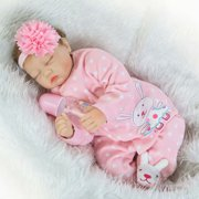 "22"" Pink Lifelike Reborn Baby Girls Doll Handmade Soft Vinyl Weighted Realistic Sleeping Baby Birthday& Xmas Gift"