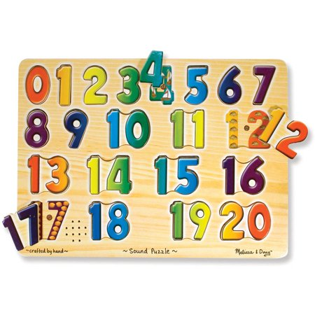 Melissa & Doug Numbers Sound Puzzle Wooden Puzzle with Sound Effects, 21 Pieces