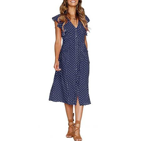 becd29221d UKAP - Asian size Women Vintage Dot Pattern Midi Dress Elastic Waist Short  Sleeve Ladies Summer Casual Dresses Vestidos - Walmart.com