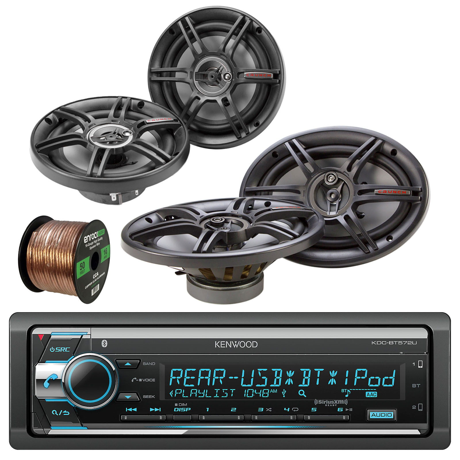 "Kenwood KDC-BT572U In Dash CD Player Bluetooth Radio Receiver With Crunch CS653 6.5"" Full Range 3-Way Car Speaker (Pair), Crunch CS693 6x9"" Full Range 3-Way Car Speakers (Pair) & Enrock 16G 50' Wire"