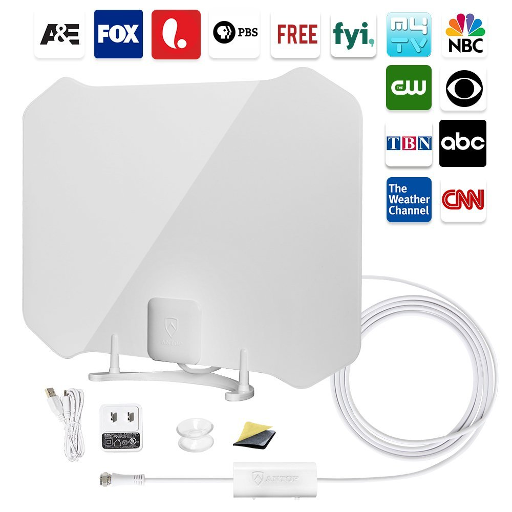 ANTOP AT-133B Digital Amplified Indoor HDTV Antenna 50 Mile Range with Amplifier Signal Booster Refurbished
