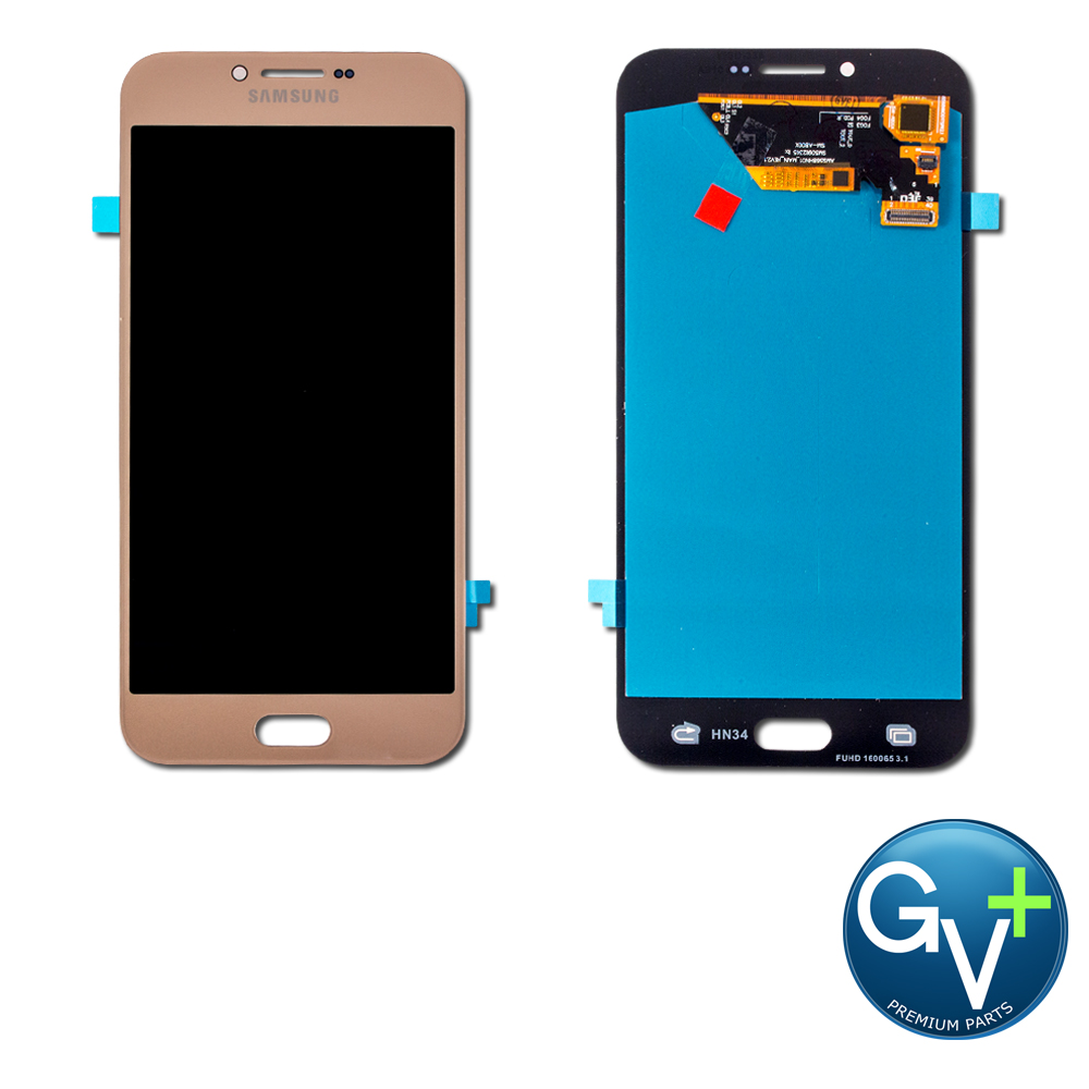 "Touch Screen Digitizer and AMOLED Front Display Assembly for Gold Samsung Galaxy A8 (2016) SM-A810 (5.7"") - OEM"