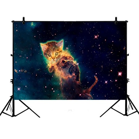 ZKGK 7x5ft Galaxy Outer Space Hipster Cat Polyester Photography Backdrop For Studio Prop Photo Background (Outer Space Photo)