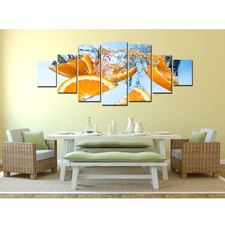 Startonight Huge Canvas Wall Art Orange Fruits Under Water With ...
