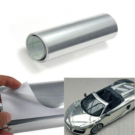 5 9  X 60  Car Sticker Gloss Silver Chrome Wrapping Vinyl Sheet Body Decrotion Decal Sheet Roll Film Self Adhesive Auto Vehicle Suv Truck Hood Trunk Door Handle Windshield Matcc