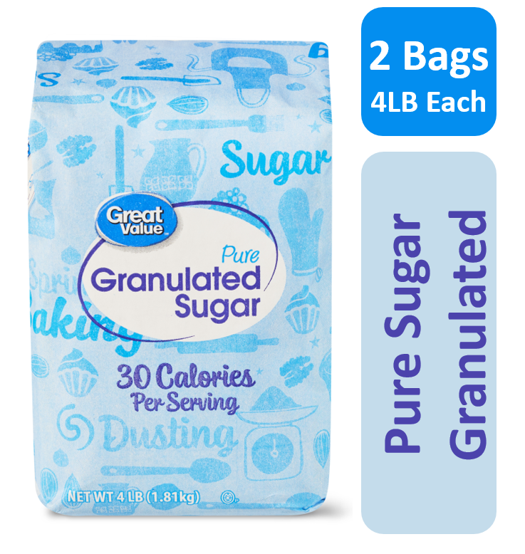 (2 Pack) Great Value Pure Cane Sugar, 4 lb