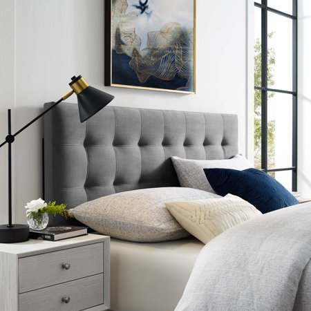 Emily Full Biscuit Tufted Performance Velvet Headboard in Gray ()