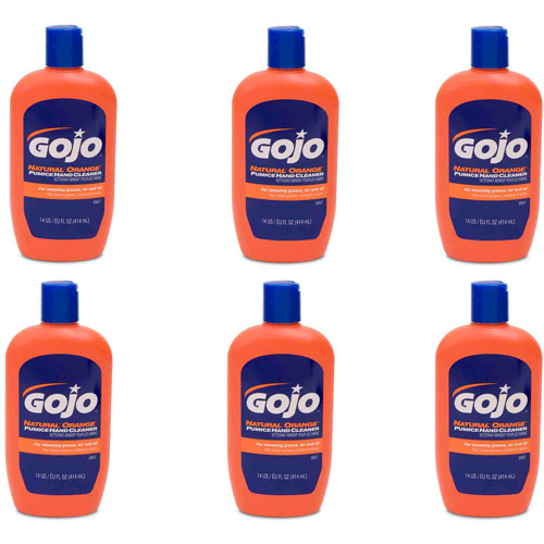 GOJO Natural Orange Pumice Hand Cleaner, 14 fl oz, 6 count