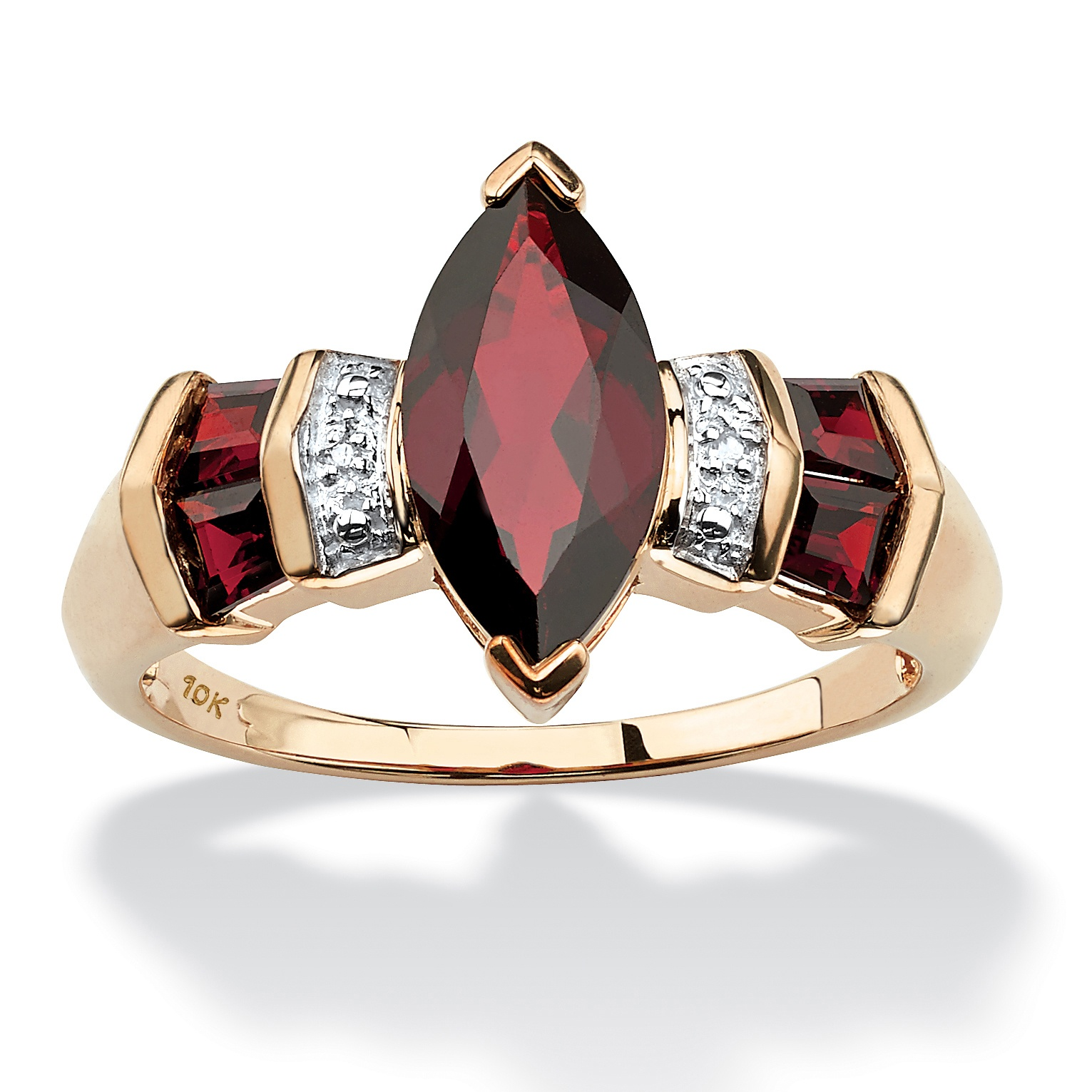 2.84 TCW Marquise-Cut Garnet and Diamond Accent Ring in 10k Gold by PalmBeach Jewelry