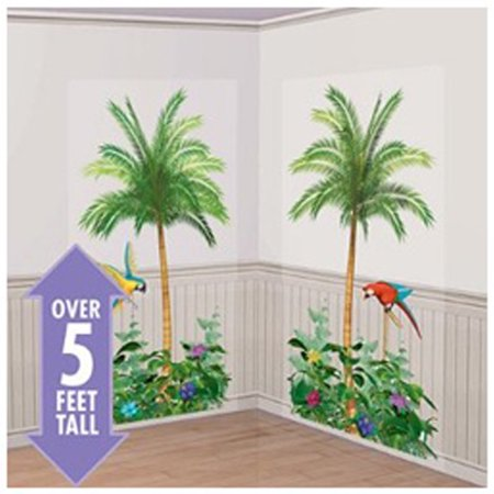 Palm Trees Scene Setter Wall Decorations (2pc) (Jungle Scene Setter)