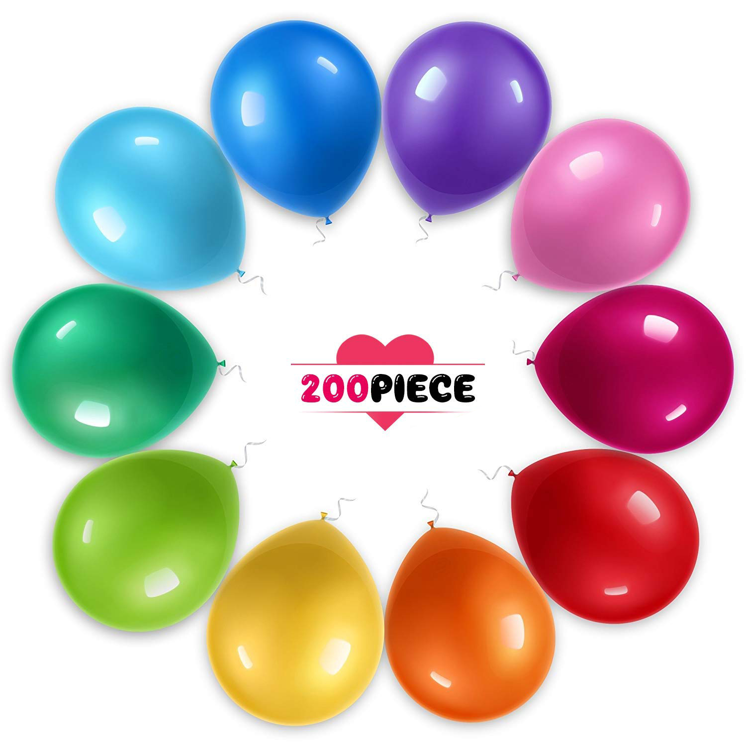 200pcs Party Balloons for Birthday, Graduation, Parties, Weddings, Baby Shower, Decoration