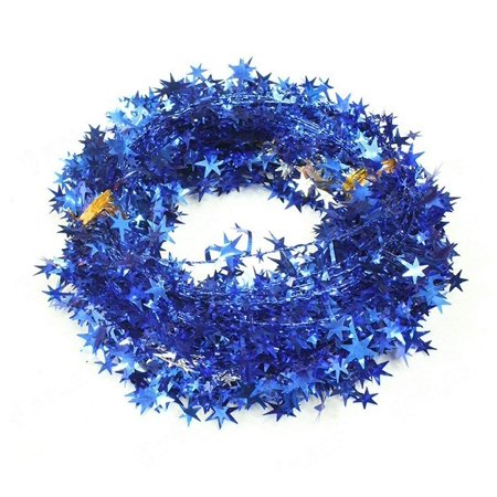 250 Ft(10pcs 25Ft/Piece) Star Garland Tinsel Stars Brace-Tinsel Wire Garland Cheerful Christmas Adornment Holiday Wedding Party Festival Use(Blue) (Blue And Silver Tinsel)