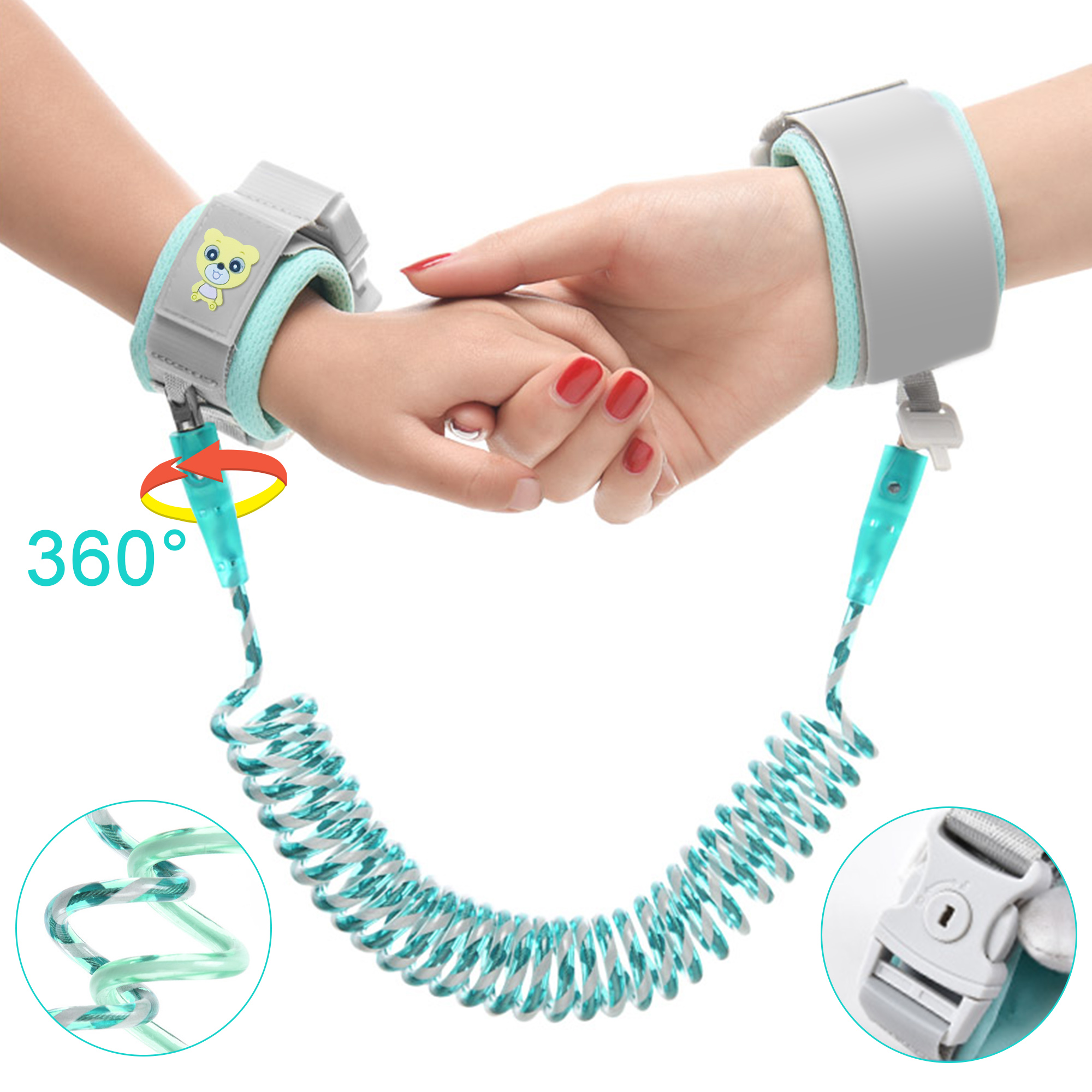 Reflective Anti Lost Wrist Link, Safety Wristband Link Kids Harness Leash Children's Anti-Lost Traction Rope with Key Lock