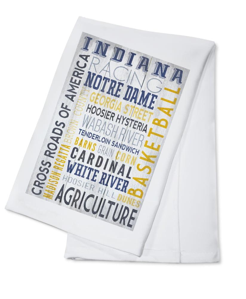 Indiana Rustic Typography Lantern Press Artwork (100% Cotton Kitchen Towel) by Lantern Press